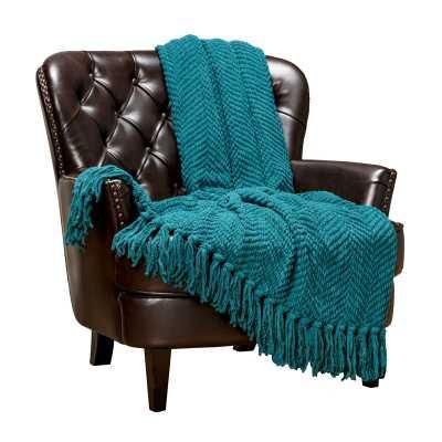 Goufes Textured Knitted Super Soft Blanket - Teal - Wayfair