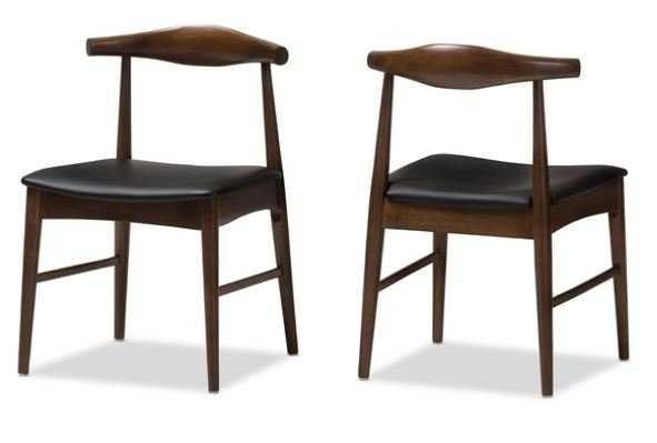BAXTON STUDIO WINTON MID-CENTURY MODERN WALNUT WOOD DINING CHAIR SET OF 2 - Lark Interiors