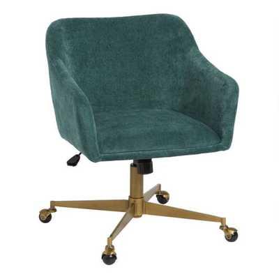 Mid Century Zarek Upholstered Office Chair in Aqua - World Market/Cost Plus