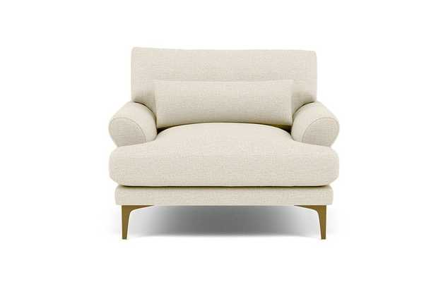 Maxwell Chairs in Oat Performance pebble knit fabric, brass plated legs - Interior Define