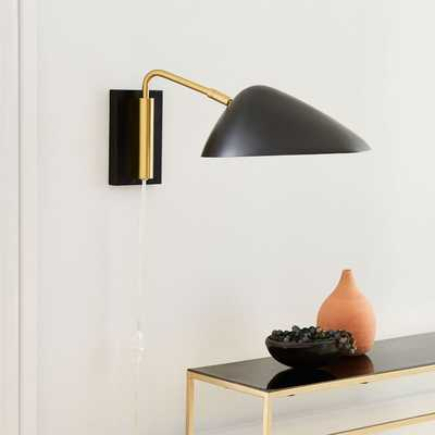 New Curvilinear Mid-Century Sconce, Short Arm, Black,Brass - West Elm