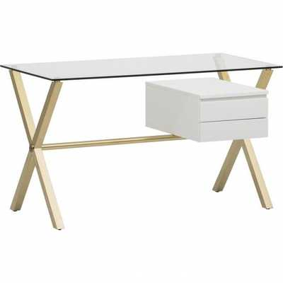 Beverly Small Desk, White/Gold - High Fashion Home