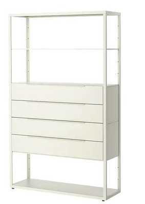 FJÄLKINGE Shelf unit with drawers, white - Ikea