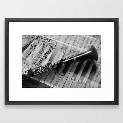 clarinet and piano - black and white Framed Art Print - Society6