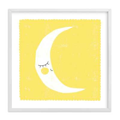 Sleepy Moon // Natural Raw Wood Frame // 16x16 // No Matte - Minted