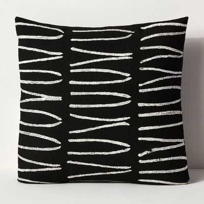 Sadza Batik Lines Pillow Cover - Black - West Elm