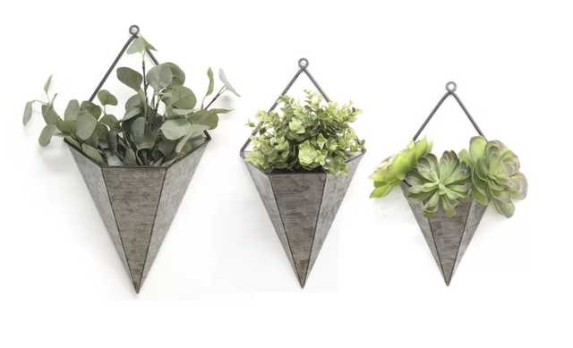 Amoroso Triangular Galvanized 3-Piece Metal Wall Planters Set - Wayfair