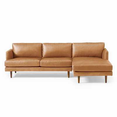 Haven Loft Set 01: Left Arm Sofa, Right Arm Chaise, Trillium, Saddle Leather, Nut, Pecan - West Elm