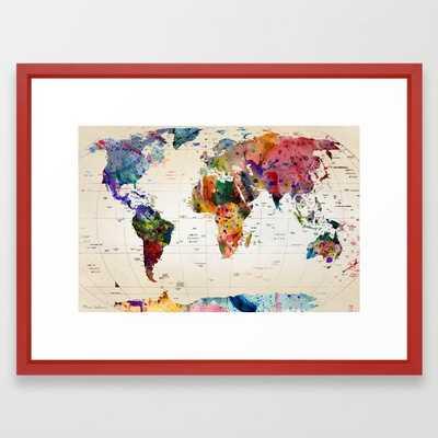 map Framed Art Print - Society6