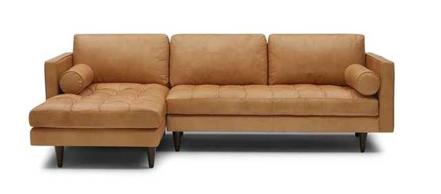 Briar Leather Sectional - Santiago Camel and Mocha - Left Orientation (Quick Ship) - Joybird