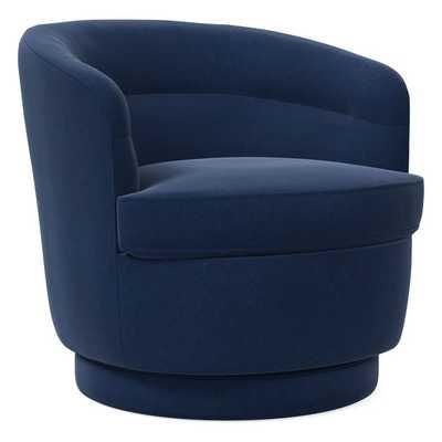 Viv Swivel Chair, Performance Velvet, Ink Blue, Concealed Supports - West Elm