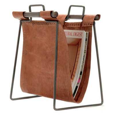 Hip Vintage Leather and Iron Sling Magazine Stand - Hayneedle