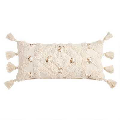 Ivory Moroccan Blanket Lumbar Pillow - World Market/Cost Plus