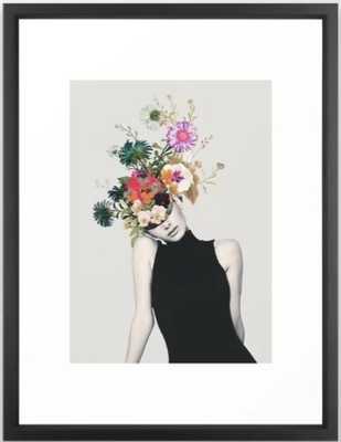 """Floral beauty Framed Art Print - Medium (gallery) - 20"""" X 26  - Vector Black - Society6"""
