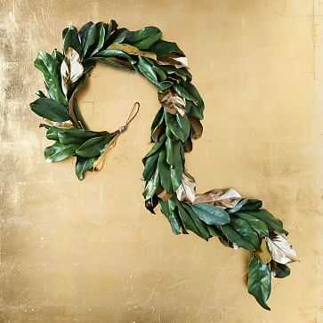 Metallic Magnolia Leaves Garland - West Elm