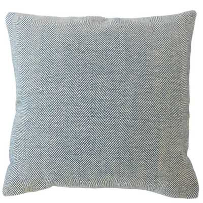"Linen Herringbone Pillow, Pacific, 18"" x 18"" with insert - Havenly Essentials"