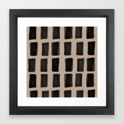 Brush Strokes Vertical Lines Black on Nude Framed Art Print - Society6