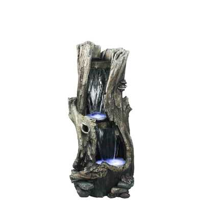 Fiber and Resin Tree Trunk Waterfall Fountain with LED Lights - Wayfair