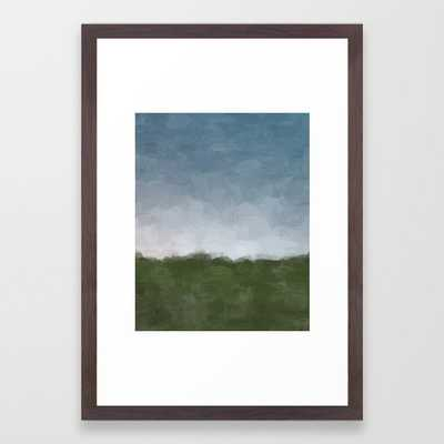 Dark Green Sky Blue White Gray Clouds Dusk on Farm Abstract Nature Rural Farmhouse Painting Art Print Wall Decor Framed Art Print - Society6