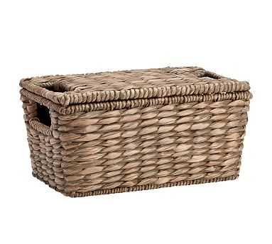 Charleston Basket Lidded, Small - Gray - Pottery Barn