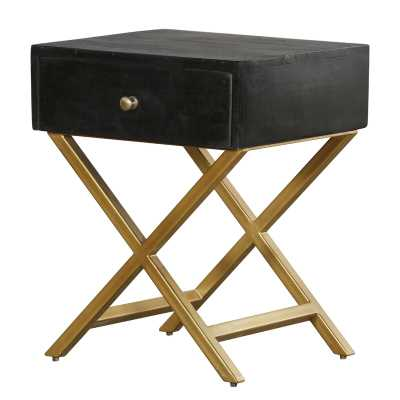Black & Brass Side Table With Drawer - Wayfair