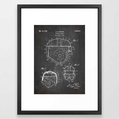 Football Helmet Patent - Football Art - Black Chalkboard Framed Art Print - Society6