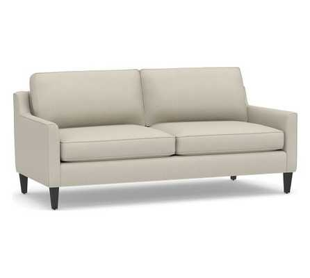 "Beverly Upholstered Sofa 80"", Polyester Wrapped Cushions, Sunbrella(R) Performance Boss Herringbone Pebble - Pottery Barn"