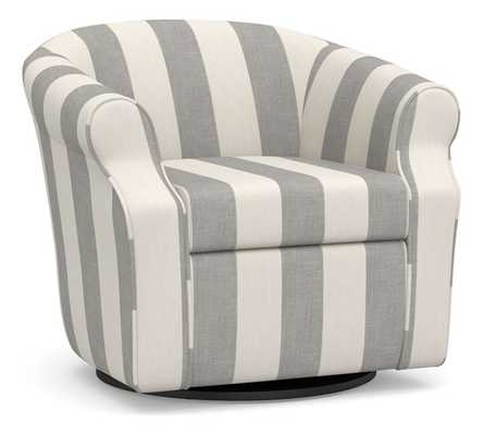 SoMa Lyndon Upholstered Swivel Armchair, Polyester Wrapped Cushions, Premium Performance Awning Stripe Light Gray/Ivory - Pottery Barn