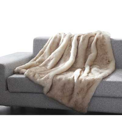 Thiele Luxury Tip Dye Faux Fur Throw grey minkl - AllModern