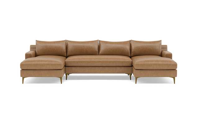 """Sloan 121"""" U-Sectional LEATHER DEEP BENCH SEAT + Extra Long Chaise - Interior Define"""