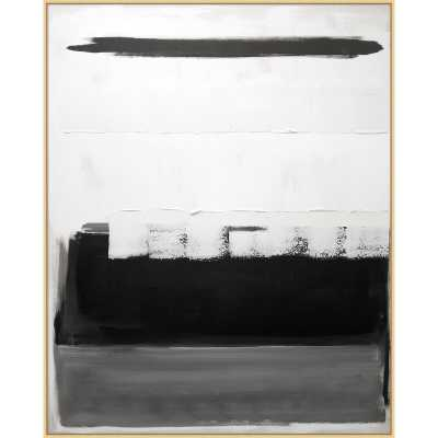 'Black and White Block' - Floater Frame Painting Print on Canvas - Perigold