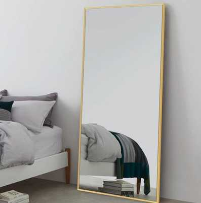 71 in.x 31.5in. Large Full-length Gold Floor Mirror Wall Mounted or Leaning - Home Depot