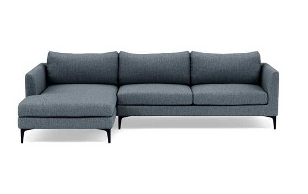 OWENS Sectional Sofa with Left Chaise - Rain Cross Weave. 106W with matte black legs - Interior Define