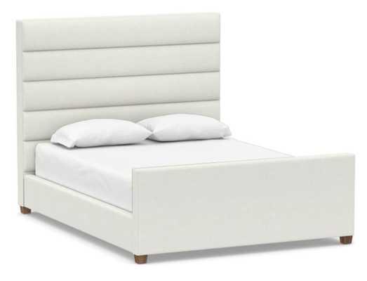 Daphne Channel Upholstered Bed, King, Basketweave Slub Ivory - Pottery Barn