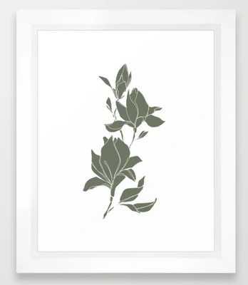 Botanical illustration line drawing - Magnolia Green Framed Art Print - X-SMALL - Society6
