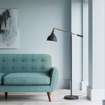 Matte Black and Antique Brass 55in. Industrial Balance Floor Lamp - Home Depot