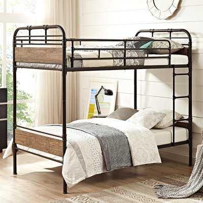 Walker Edison Twin over Twin Metal Wood Bunk Bed - Black - Hayneedle