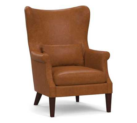 Champlain Wingback Leather Armchair, Polyester Wrapped Cushions, Statesville Caramel - Pottery Barn