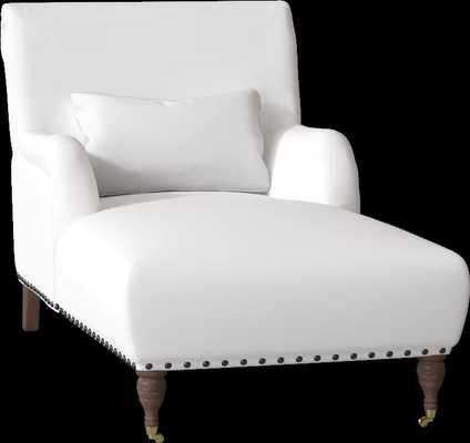 Shephard Chaise Lounge Body Fabric- Spinnsol Optic White; Kidney Pillow Fabric- Spinnsol Optic White; Nailhead detail- Pewter; Castor color- Black walnut nickel - Wayfair