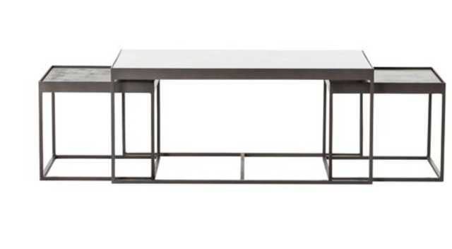 Nash Industrial Loft White Marble Iron Nesting Coffee Table - Kathy Kuo Home