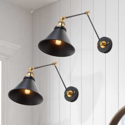 Plympt 2 - Light Dimmable Plug-In Black/Bronze Armed Sconce - Wayfair