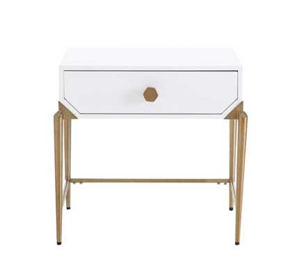 Camryn White Lacquer Side Table - Maren Home