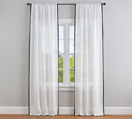 """Linen Sheer Trim Curtain, 108"""", White/Navy - Pottery Barn"""