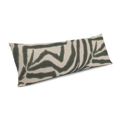 "Large Lumbar Pillow in Zebra Ikat - Steel, 14""x36"" - Loom Decor"