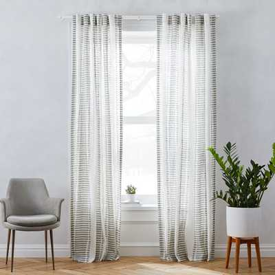 "Striped Ikat Curtain - Platinum 96"" - West Elm"