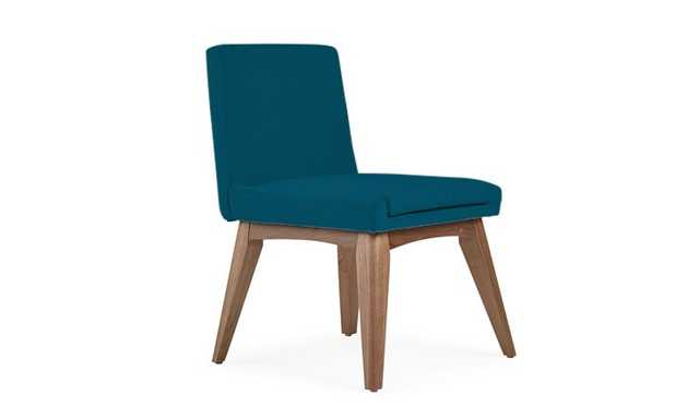 Blue Spencer Mid Century Modern Dining Chair - Key Largo Zenith Teal - Walnut - Joybird