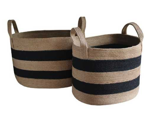Striped Woven Jute Basket, large - High Street Market