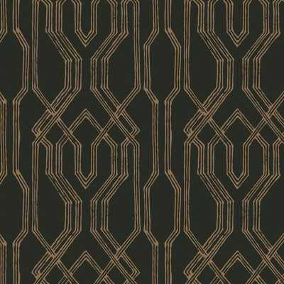 Oriental Lattice Wallpaper in Black and Gold from the Tea Garden Collection by Ronald Redding for York Wallcoverings - Burke Decor