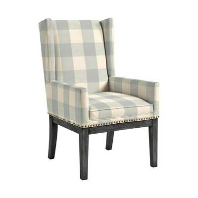 Ballard Designs Marlene Dining Chair with Brass Nailheads - Buffalo Check Spa, Black Legs - Ballard Designs