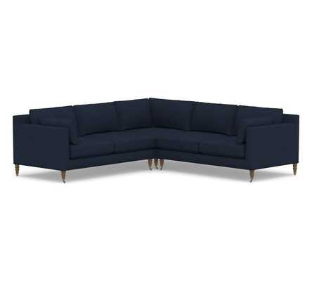 Tallulah Upholstered 3-Piece L-Shaped Corner Sectional, Down Blend Wrapped Cushions, Performance Heathered Basketweave Navy - Pottery Barn